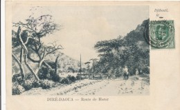 CPA DJIBOUTI Précurseur 1904 Diré-Daoua Route De Harar + Cachet + Timbre Ceylan Sri Lanka - Djibouti