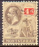 MONTSERRAT 1923 SG #75 4d Used Wmk Mult. Script CA CV £13 - Montserrat