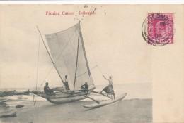 CPA CEYLON SRI LANKA Fishing Canoe Colombo Précurseur 1904 + Cachet + Timbre - Sri Lanka (Ceylon)