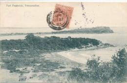 CPA CEYLON SRI LANKA  Fort Frederick Trincomallee Précurseur 1904 + Cachet + Timbre Editeur Platé - Sri Lanka (Ceylon)