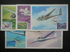 USSR Russia Sowjetunion 5x Cards 1983 Maximum Card # History Of Soviet Gliders.Planes - Maximumkaarten