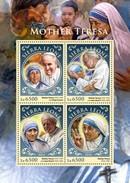 Sierra Leone 2016, Mother Teresa, Pope Francis And J. Paul II, 4val In BF