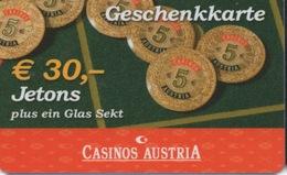 Casinos Austria €30,- Jetons : Geschenkkarte - Casino Cards