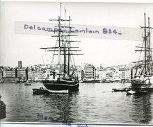-  MARSEILLE - Photo Ancienne, Vieux Port, Bateaux, 3 Mats, Vieux Quartiers, Papier épais, TBE. - Reproductions