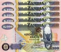 ZAMBIA 100 KWACHA 2009 P-38h UNC 5 PCS [ZM139i] - Zambia