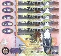 ZAMBIA 100 KWACHA 2010 P-38i UNC 5 PCS [ZM139j] - Zambia