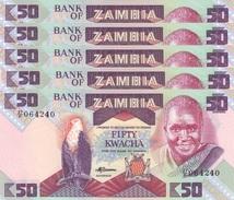 ZAMBIA 50 KWACHA ND (1986) P-28a UNC 5 PCS [ZM129a] - Zambia