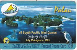 PALAU - VII South Pacific Mini Games 2005, PNCC Prepaid Card $10, Tirage 50000, 08/05, Used