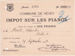 Quittance De L' Impôt Sur Les Pianos - Commune De Vevey - 1904 - Suisse