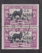 Saint-Pierre Et Miquelon - 1942 France Libre 3Fr Surcharge On Postage Due - Used Pair - Newfoundland Dog - Cds 18-5-42 - St.Pierre Et Miquelon