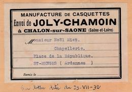 Manufacture De Casquettes  JOLY-CHAMOIN  à Chalons Sur Saone - Textile & Vestimentaire