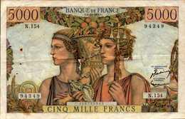 FRANCE 5000 FRANCS TERRE ET MER Du 6-12-1956 Pick 131c  F 48/12 - 5 000 F 1949-1957 ''Terre Et Mer''