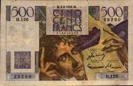 FRANCE 500 FRANCS CHATEAUBRIAND Du  4-9-1952  Pick 129c  F 34/2 - 1871-1952 Circulated During XXth