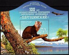 Russia 2016 Fauna 100th Anni Barguzinsky Biosphere Reserve Wild Animals Eagle Plant Lake Stamp MNH Michel Bl. 237 - Eagles & Birds Of Prey