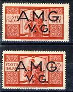 Trieste VG Zona A 1945-47 N. 21l L. 100 Carminio VARIETA' DENT. SPOSTATA A DESTRA (confronto Con Normale) MNH Cat. &euro - 7. Triest