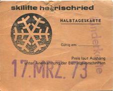 Deutschland - Skilifte Herrischried - Halbtageskarte Für Kinder 1973 - Bahn
