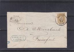 Belgique - Lettre Partielle De 1876 - Oblit Liège - Expédié Vers Francfort En Allemagne - Cachet France Par  ?? - 1865-1866 Profil Gauche