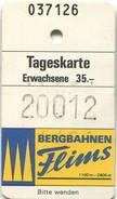 Schweiz - Bergbahnen Flims - Weisse Arena Von Flims-Laax - Tageskarte - Bahn