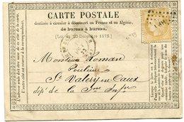 SEINE MARITIME Cachet T17 GARE DE BEUZEVILLE+ N°55 Oblitéré HP I Sur CP De FECAMP Du 18/08/1873 - 1849-1876: Période Classique