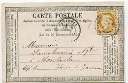SAONE ET LOIRE De SENNECEY Cachet T17 Sur N°55 Sur CP Du 14/11/1874 - 1849-1876: Periodo Clásico
