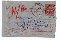 1968 - CARTE LETTRE PNEUMATIQUE CHAPLAIN De PARIS 74 -> MISE AUX REBUTS