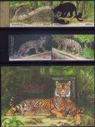 Malaysia 2013 S#1482-1485 Endangered Big Cats Set+M/S MNH Fauna Leopard Tiger - Malaysia (1964-...)