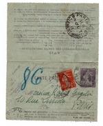 1917 - CARTE LETTRE PNEUMATIQUE SEMEUSE De PARIS 112