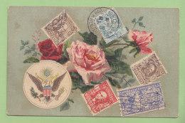 Armoiries Des Etats-Unis Et Représentation De Timbres Américains. 2  Scans. - Timbres (représentations)