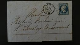 Lettre Enveloppe - PC1448 Sur 20c Bleu Napoléon III Non Dentelé - Année 1857 - 1849-1876: Classic Period