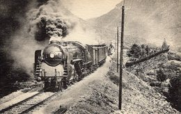 CPA - ETAT NORVEGIEN - LIGNE D'OSLO A TRONDHEIM - LOCOMOTIVE COMPOUND 4 CYLINDRES VAPEUR SURCHAUFFEE  - FG.1-222 - Trains