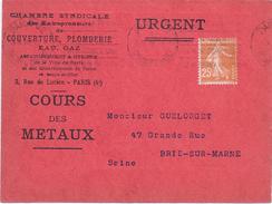 FRANCE - CARTE COURS DES METAUX 1928 PLOMB OUVRE SEMEUSE 25C BRUN - Variedades Y Curiosidades