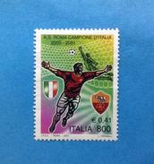 2001 ITALIA FRANCOBOLLO USATO STAMP USED - CALCIO ROMA CAMPIONE D'ITALIA - - 6. 1946-.. Repubblica