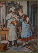 Assez Grande Chromo Dos Vierge - Scène De Cuisine, Le Cuisinier Offrant Dégustation à La Servante - Unclassified