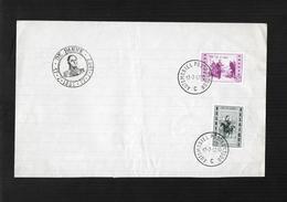 BELGIQUE 1957 FDC COB 1020-1021 125ème ANNIV DE L'ARRIVEE DE LEOPOLD Ier A LA PANNE OBLITERATIONBUREAU AMBULANT - FDC