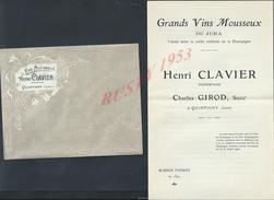 LOT DE DOCUMENTS PUBLICITAIRE HENRI CLAVIER CHATEAU MARSAC VINS MOUSSEUX À QUINTIGNY ( JURA ) : - Publicités