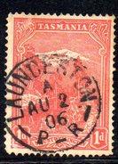Xp2171 - TASMANIA 1 Pence Wmk  Crown On A Used - 1853-1912 Tasmania