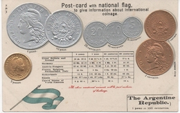 THE ARGENTINE REPUBLIC - COINS OF THE TIME AND NATIONAL FLAG - Embossed Unused Card In Very Good Condition - Coins (pictures)
