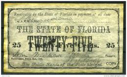 "25¢ Florida 1863 - Confederate Paper Coins  ""REPLICA"" - Confederate Currency (1861-1864)"