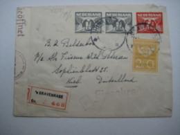 1943 , Einschreiben  Nach Deutschland - Periode 1891-1948 (Wilhelmina)