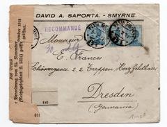 1921 - ENVELOPPE RECOMMANDEE De SMYRNE (BUREAU ITALIEN AU LEVANT) Avec CACHET POSTA MILITARE Pour DRESDEN -> CENSURE - Oficinas Europeas Y Asiáticas