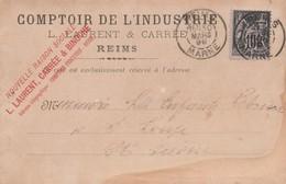 Carte Commerciale 1899 Comptoir De L'Industrie / LAURENT & CARREE / Reims 51 Marne - Cartes