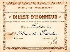 INSTITUTION NOEL-BEUGNET  -  Billet D'Honneur - Diplômes & Bulletins Scolaires