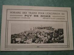 Horaire Des Trains Pour L'Excursion Du PUY De DOME - Service Du 1er Juin Au 15 Octobre - Europe