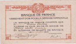 Vieux Papier : Banque De  France  1915( Rouen) - Non Classés