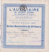 Vieux Papier : Caligny , Orne ,action , Agriculteur , Syndicat  Central ( Paris-flers) - Actions & Titres