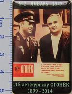 547 Space Pin Gagarin & Korolev. Magazine Ogonyok No.2 January 1977. 115 Anniversary (52x33 Mm) - Space