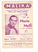 "Partition: ""Malika""  Avec Paroles. Henri DUVAL, Mario MELFI, Albert BOSSY - Musique & Instruments"