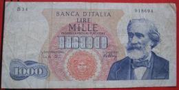 1000 Lire 1962 (WPM 96d) Ausgabe 1965 - [ 2] 1946-… : Repubblica