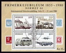 1980,  Norwegen, 817/20 Block 3, NORWEX ´80- 125 Jahre Briefmarken, Gestempelt Oo,
