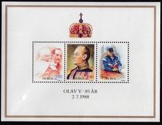 1988,  Norwegen, 998/00 Block 9, 85. Geburtstag König Olav V., MNH **